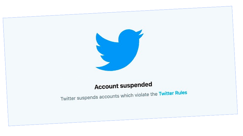 Twitter account suspended message and logo