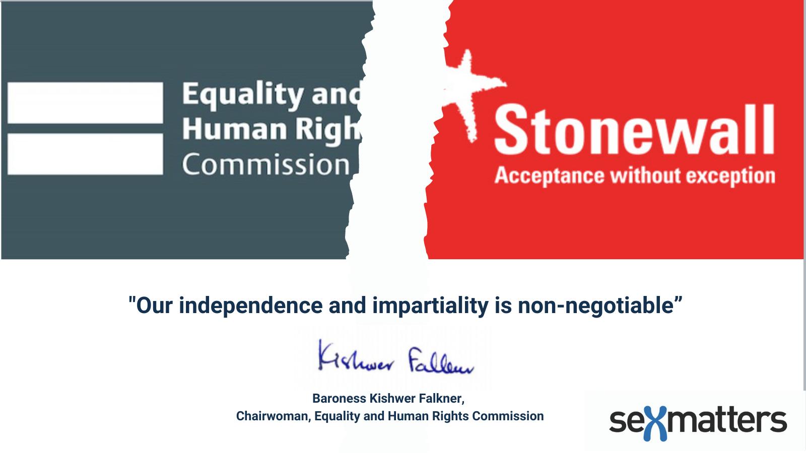 EHRC and Stonewall logos splitting