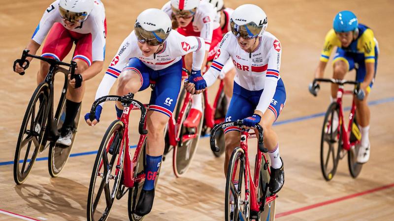 GB team cyclists racing