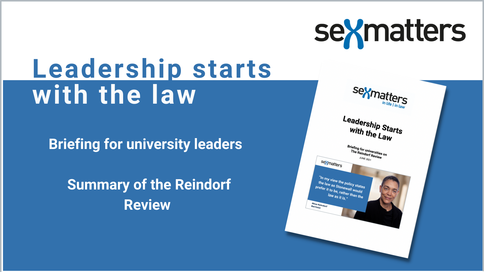 Cover of the report: Leadership Starts with the Law