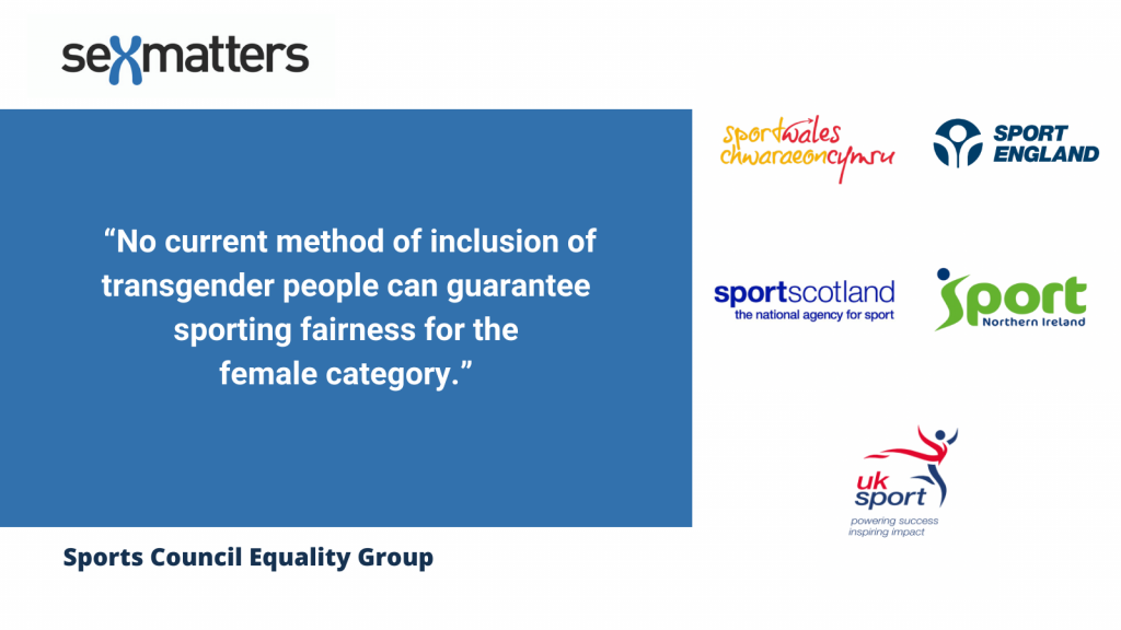 """""""No current method of inclusion of transgender people can guarantee sporting fairness for the female category.""""  (SCEG Report, 2021)"""