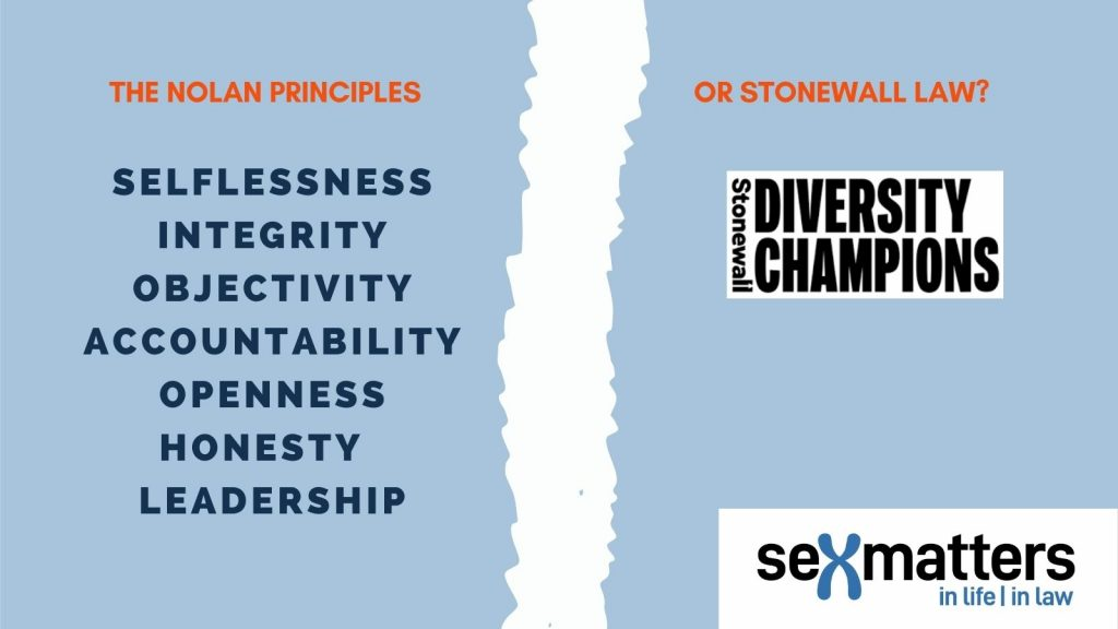 The Nolan Principles: selflessness, integrity, objectivity, accountability, openness, honesty and leadership  Or Stonewall Law?\